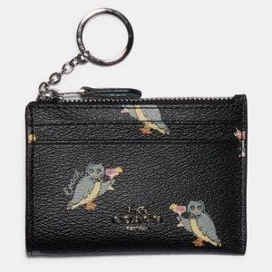 Coach Owl Mini Skinny ID Card Case Wallet Keychain